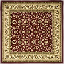 Safavieh Lyndhurst Collection Floral Burgundy/ Ivory Rug (6' Square)
