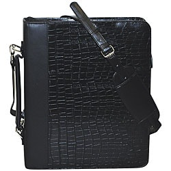 Buxton Unisex Croc-embossed Leather Cal-Q Zip-around Fashion Folio
