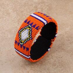 Glass Zulu Beaded Orange Cuff Bracelet (South Africa)
