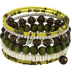 Olive Green Glass, Wood, and Bone Spiral Wrap Bracelet (India)