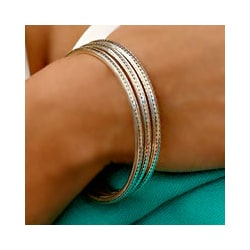 Sterling Silver 'Moon Silver' Bangle Bracelets (Indonesia) (Pack of 3)