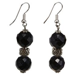 Silver Faceted Black Glass Earrings (Thailand)