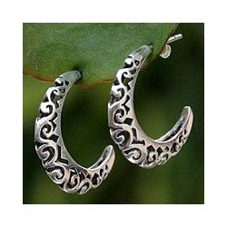 Sterling Silver 'Silver Lace' Half Hoop Earrings (Thailand)