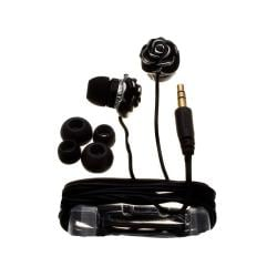 Nemo Digital Black Enamel Flower Earbud Headphones