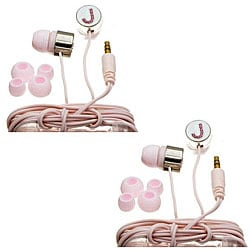 Nemo Digital Pink Crystal 'J' Earbud Headphones (Case of 2)