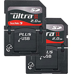 SanDisk 2GB Ultra II SD Plus USB Flash Memory Cards (Case of 2) New in Non-Retail Packaging