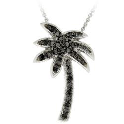 DB Designs Sterling Silver 1/10ct TDW Black Diamond Palm Tree Necklace