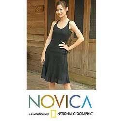 Black 'Summer Night' Cotton Skirt (Thailand)