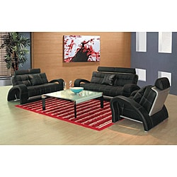 EuroDesign Black Leather Sofa and Loveseat