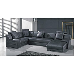 Black Leather Tied-cushion Sectional Set