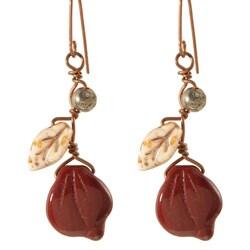 Copper Deep Burgundy Vines of Tenacity Earrings