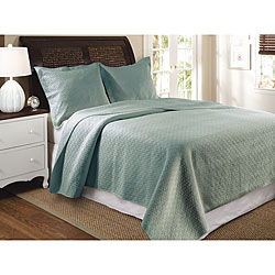 Greenland Home Fashions Vashon Slate Blue 3-Piece Quilt Set