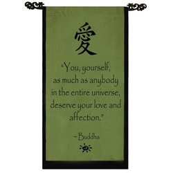 Cotton Love Symbol and Buddha Quote Scroll, Handmade in Indonesia