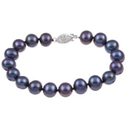 DaVonna Silver Black FW Pearl Bracelet (9-10mm)