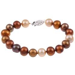 DaVonna Silver Multi-colored FW Pearl Bracelet (9-10mm)