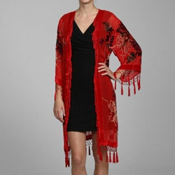 Handmade Red Embroidered Velvet and Silk Shawl Jacket