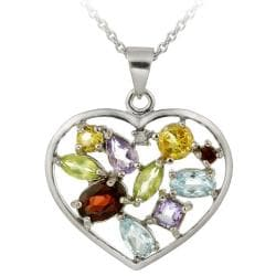 Glitzy Rocks Sterling Silver Multi-gemstone and Diamond Accent Heart Necklace 7070584