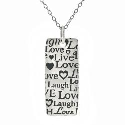 Journee Collection Sterling Silver Live, Laugh, Love Necklace