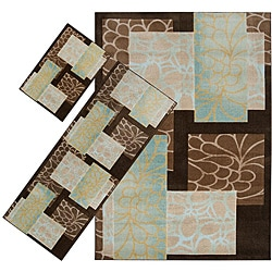 Set of 3 Brown Floral Rugs (1'8 x 2'6/ 2'2 x 5'11/ 5'3 x 7'6)