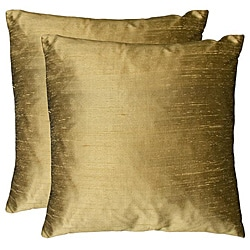 Duponi Silk Feather Filled Square Decorative Pillows (Set of 2) (As Is Item)