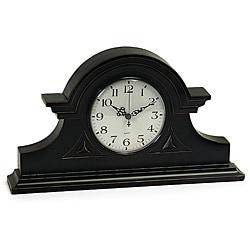 Wood Regent Stately Black Captain's Mantel Clock