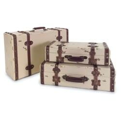Regent Vintage Ivory Suitcases (Set of 3)