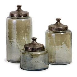 Portofino Round Green Hammered Glass Canisters (Set of 3)