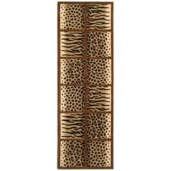 Safavieh Handmade Soho Jungle Print Beige N. Z. Wool Runner (2'6 x 12')