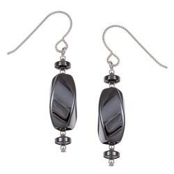 MS DJ Casanova Argentium Silver Hematite Twisted Drop Earrings