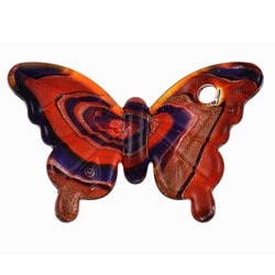 Murano Inspired Glass Red/ Dark Blue/ Gold Swirling Butterfly Pendant