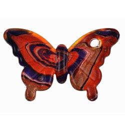Murano Inspired Glass Red/ Dark Blue/ Gold Swirling Butterfly Pendant