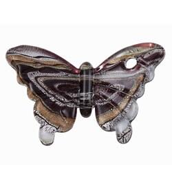Murano Inspired Glass Black/ White/ Gold Swirling Butterfly Pendant