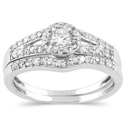 10k White Gold 3/8ct TDW Diamond Halo Bridal Ring Set (I-J, I1-I2)