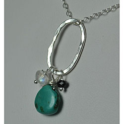 Sterling and Fine Silver Pendant with Turquoise, Spinel and Moonstone Necklace 7109642