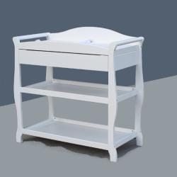 Sleigh Changing Table with Drawer in White