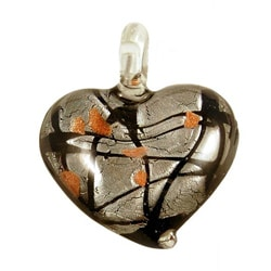Murano Inspired Glass Black and Silver Art Deco Heart Pendant