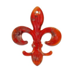 Murano Inspired Glass Red Fleur De Lis Pendant