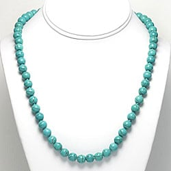 Sterling Silver Dyed Blue Magnesite Bead Necklace