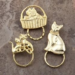 SPEC Pin Goldplated Cat Glasses Holder (Set of 3)