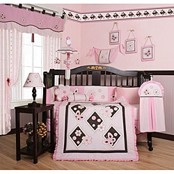 Pink Butterfly 13-piece Crib Bedding Set