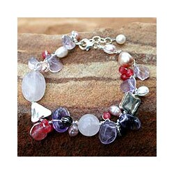 Pearl and Amethyst 'Lilac Rose' Beaded Bracelet (Thailand)