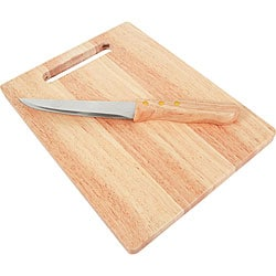 KitchenWorthy Rubberwood Cutting Boards and Knives (Pack of 10)