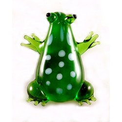 Murano Inspired Glass Green Tree Frog Pendant