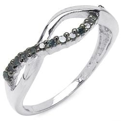 Sterling Silver 1/6ct TDW Blue Diamond Crossover Ring