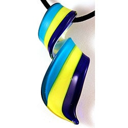 Murano Inspired Glass Blue and Yellow Twisted Curl Pendant