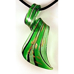 Murano Inspired Glass Green Striped Twisted Curl Pendant