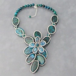 Silver Green Malachite and Onyx Necklace (Thailand)