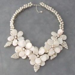Silver Mother of Pearl and Freshwater Pearl Necklace (Thailand)