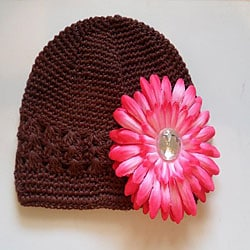 Brown Hat and Pink Flower Clip