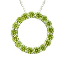10k Gold August Birthstone Small Prong-set Peridot Circle Necklace